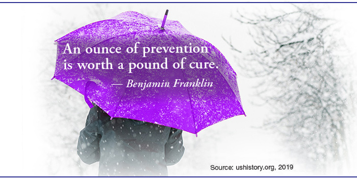 Image of a person holding a purple umbrella bearing the quote,