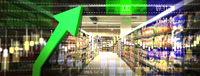 Supermarket aisle with green arrow pointing upward toward random numbers: 0.02, minus 0.04, 09:11:38.