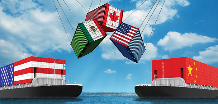 Image shows US, Mexico and Canada cargo containers hanging by chains above two container barges, one painted to resemble the U.S. flag and the other to resemble the Chinese flag