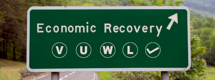 Road sign showing possible shape of the economic recovery ahead based on the letters V, U, W, L and a check mark