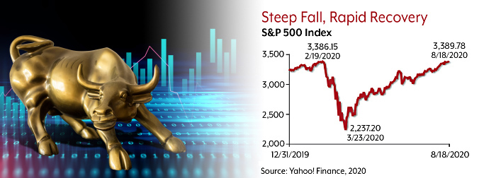 The S&P 500 index fell from about 3,386 on 2/19/20 to 2,237 on 3/23/20, then rose to 3,389 by 8/18/20