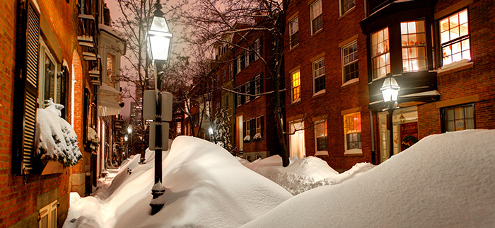 IMAGE opf Boston historical street covered in snow